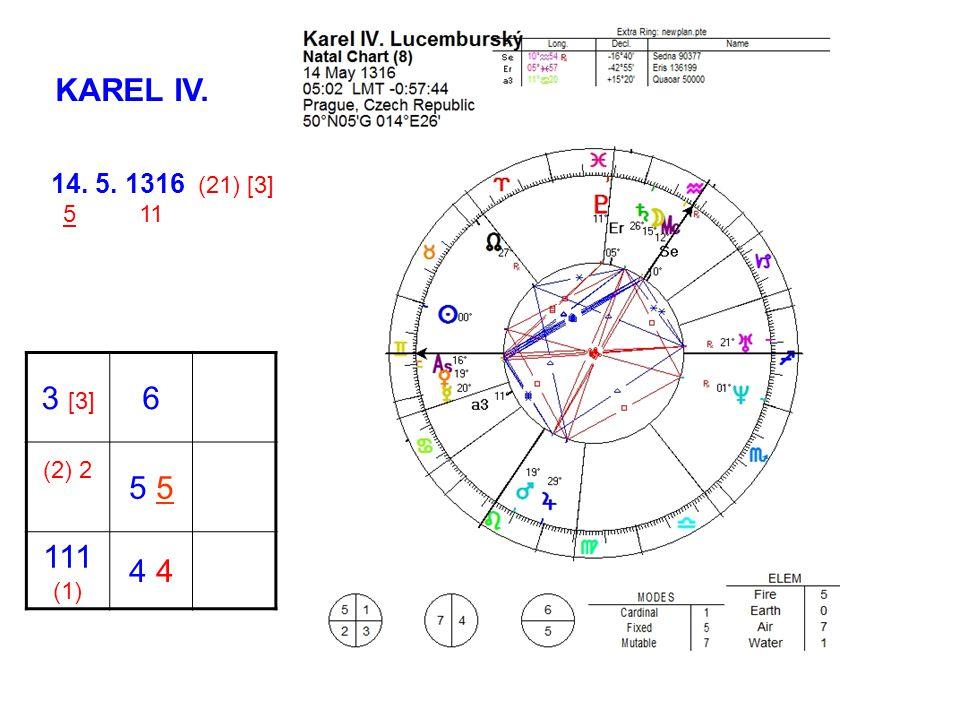 KAREL IV. 14. 5. 1316 (21) [3] 5 11 3 [3] 6 (2) 2 5 5 111 (1) 4 4